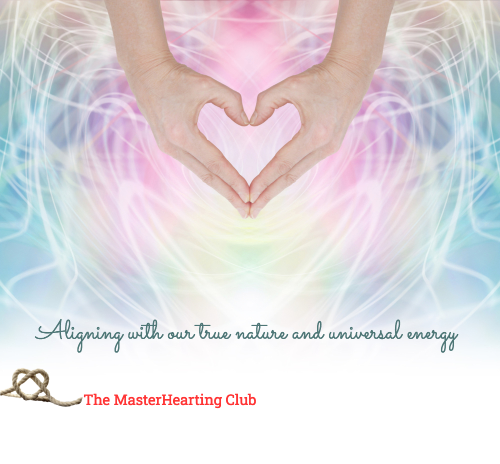 image of hands forming a heart shape on a background of pastel colours and white hearts, with the tagline aligning with true nature and universal energy
